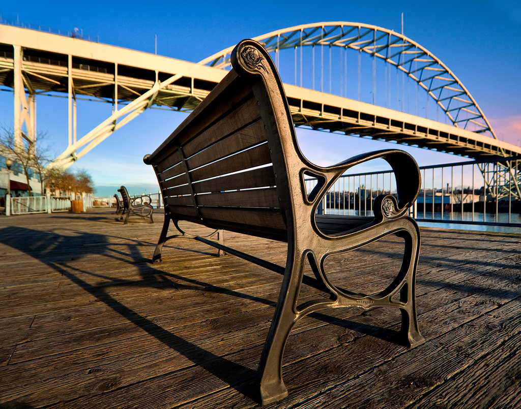 """Boardwalk At Sunrise"" by Jon Lesch, showcasing the Fremont Bridge"